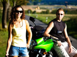 biker couples on the happy road