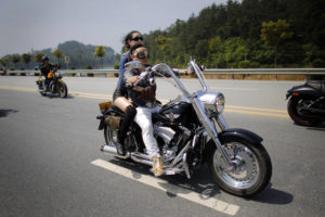 biker couples on road