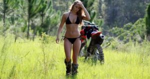 Take your biker babe to ride for a romantic motorcycle camping in your travel.